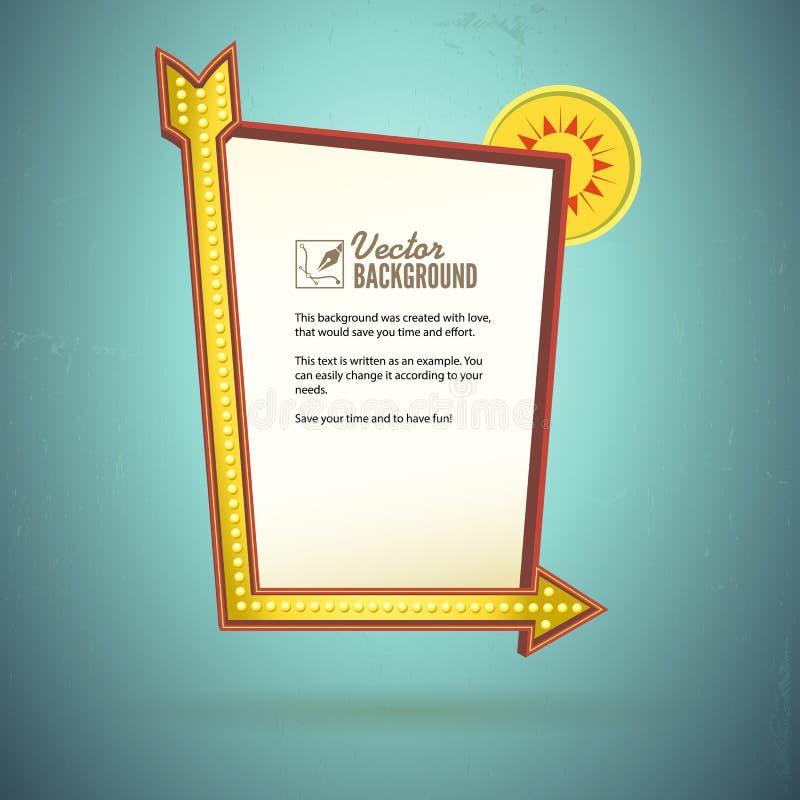 Ретро дизайн знака, рекламируя для мотеля иллюстрация вектора