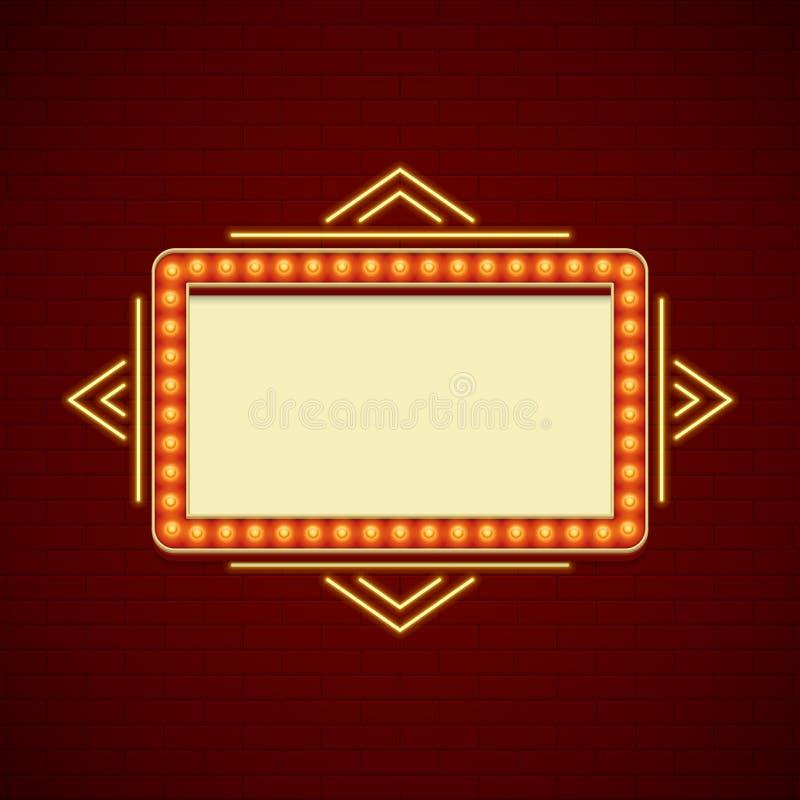Ретро дизайн знака Showtime Рамка электрических лампочек Signage кино и неоновые лампы на предпосылке кирпичной стены иллюстрация штока