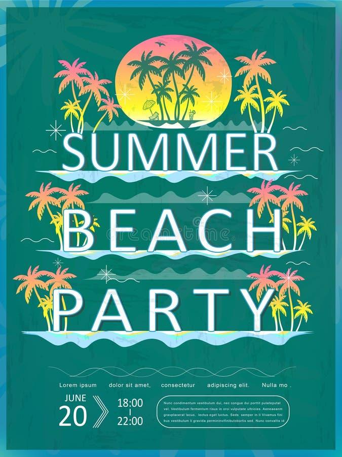 Ретро дизайн плаката партии пляжа лета бесплатная иллюстрация