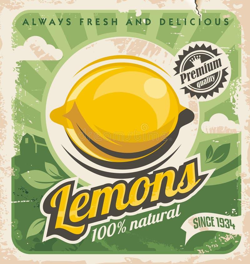 Ретро дизайн плаката для фермы лимона иллюстрация штока