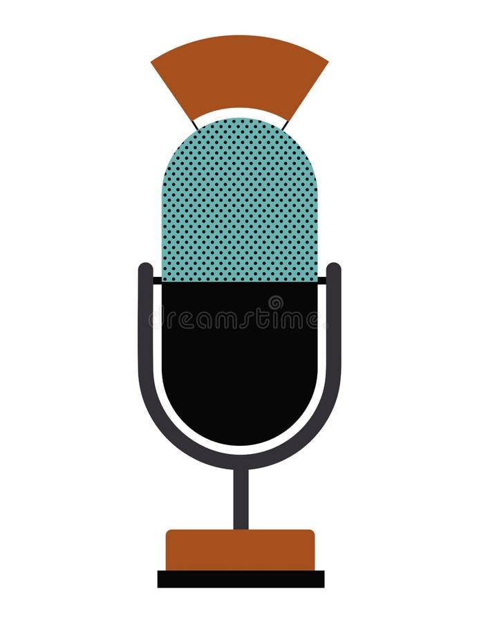 Ретро дизайн технологии микрофона иллюстрация вектора
