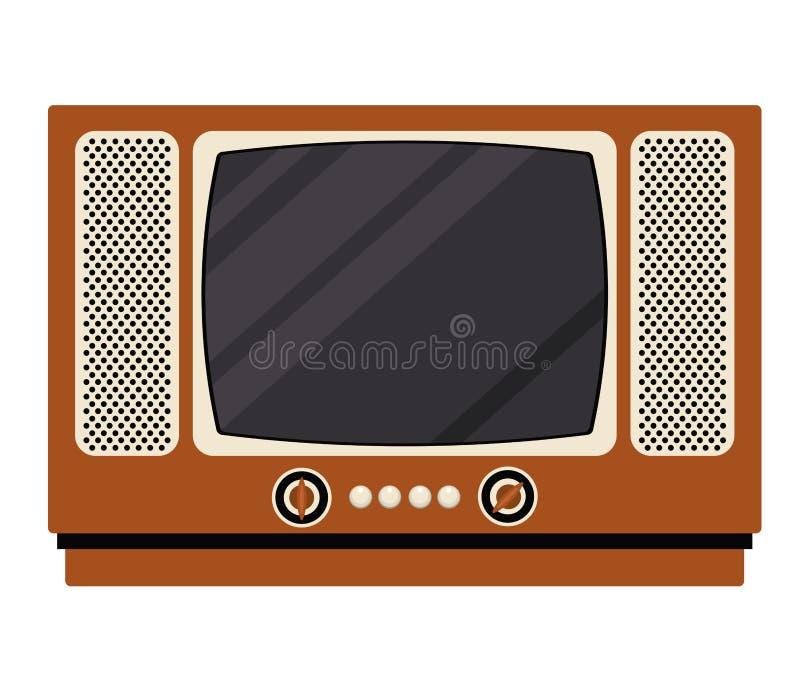 Ретро дизайн технологии ТВ иллюстрация штока