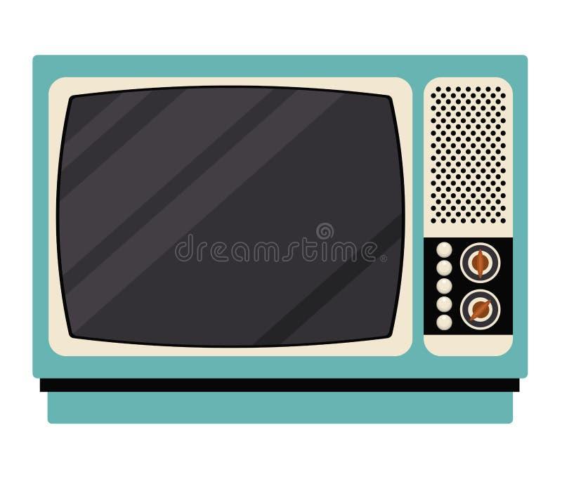 Ретро дизайн технологии ТВ иллюстрация вектора
