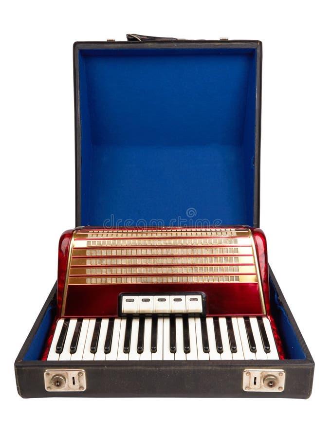 Ретро изолированный аккордеон стоковые изображения rf