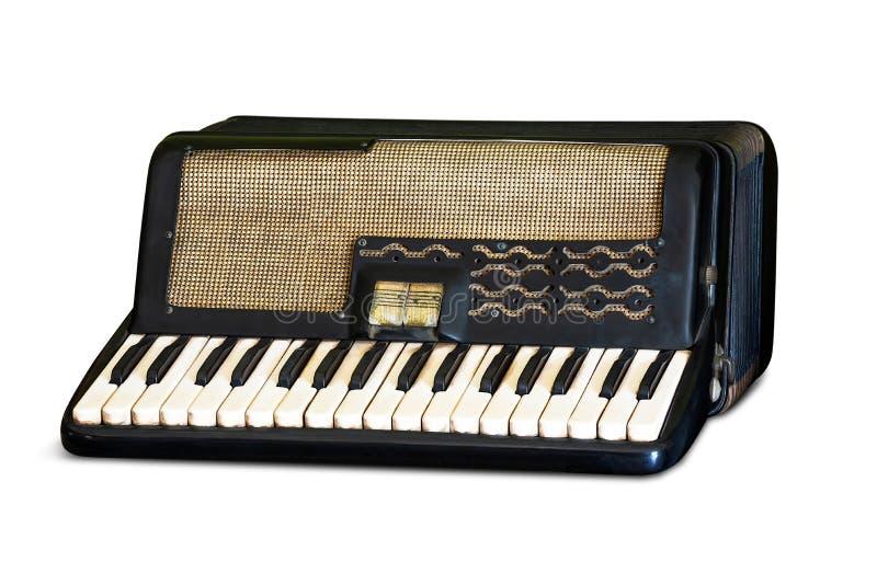 Ретро изолированный аккордеон стоковые фотографии rf