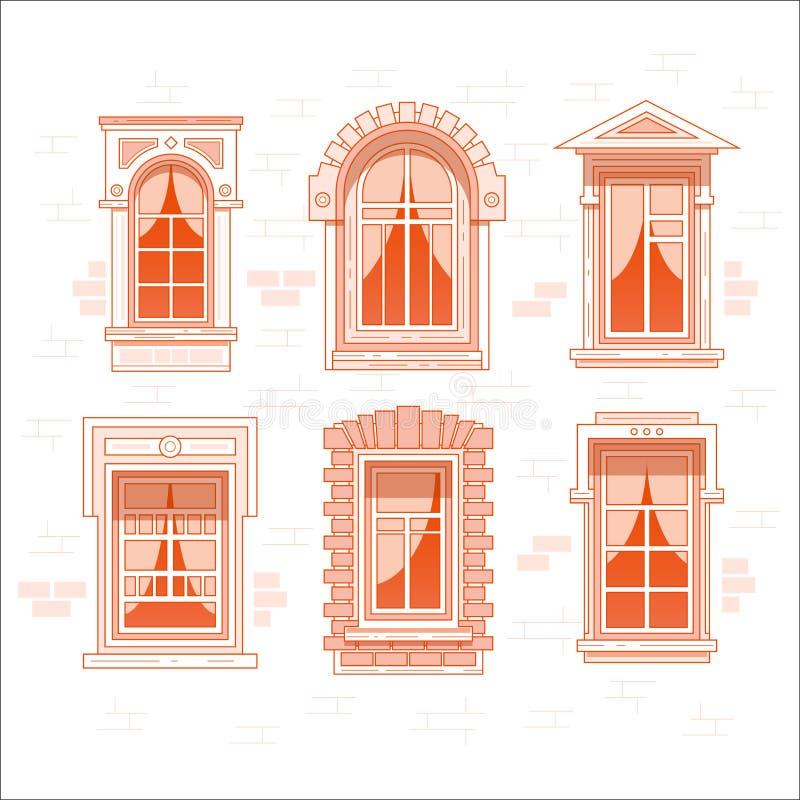 Ретро или винтажные оконные рамы с занавесом иллюстрация вектора