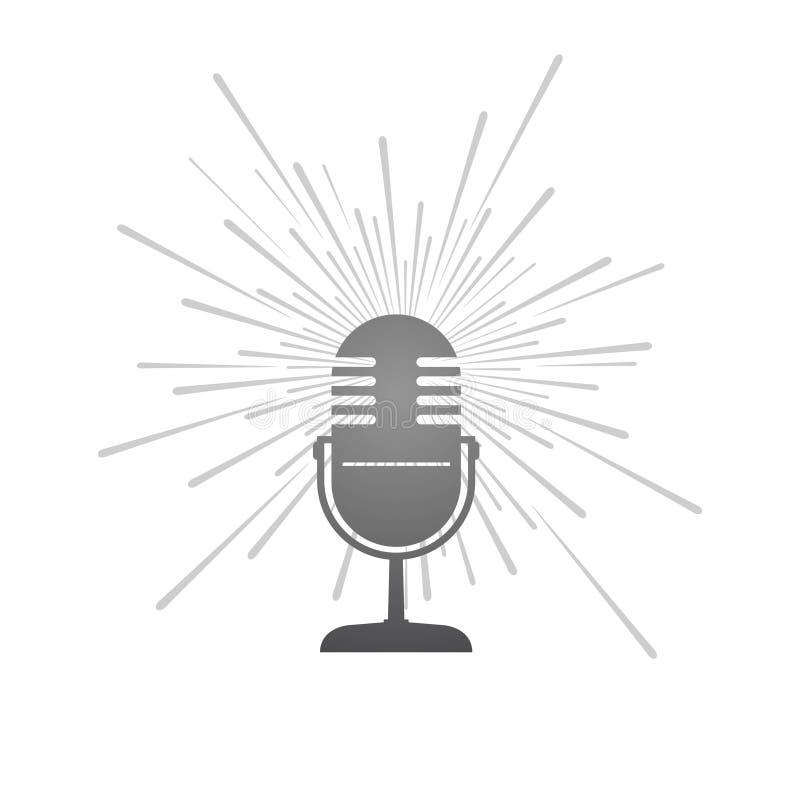Ретро иллюстрация микрофона иллюстрация вектора