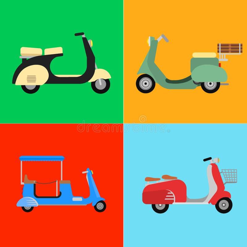 Ретро иллюстрация средства доставки мотоцилк дизайна перемещения мотоцикла самоката vespa вектора иллюстрация вектора