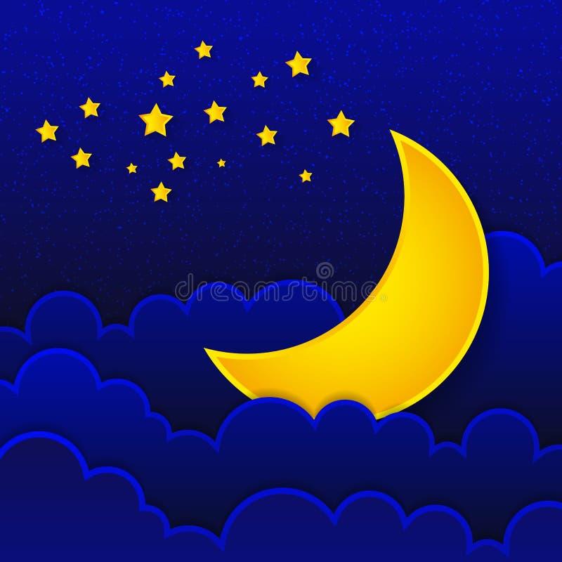 Ретро иллюстрация усмехаясь спокойной ночи луны иллюстрация штока
