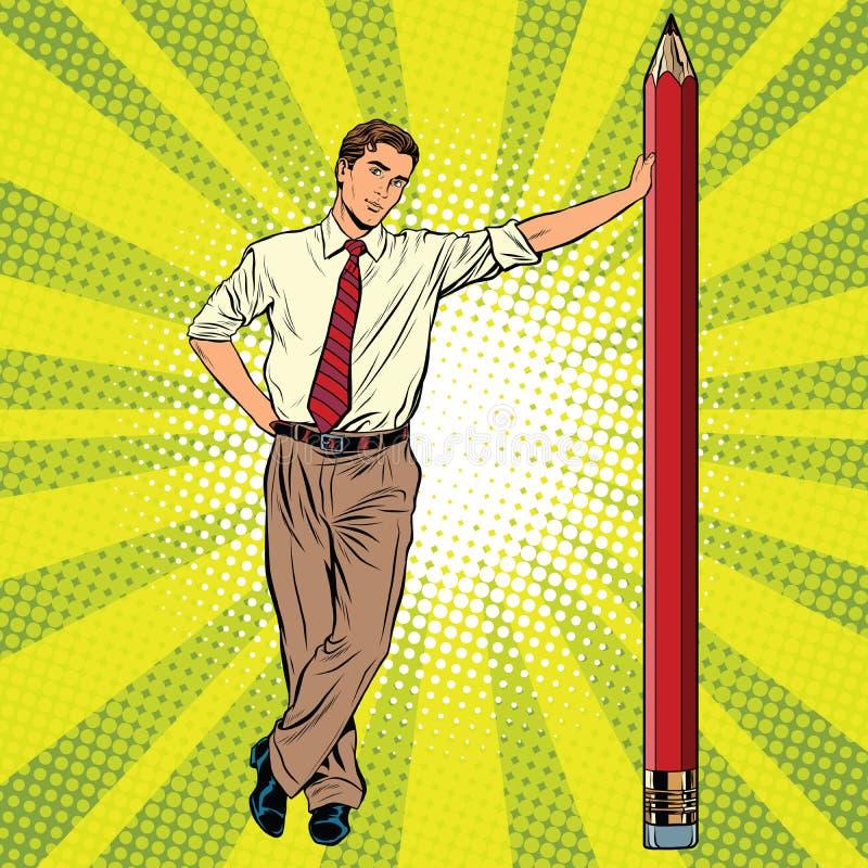 Ретро инженер с карандашем иллюстрация вектора
