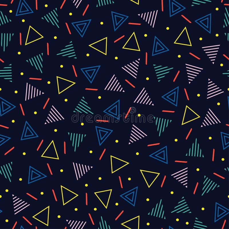 Ретро линия картины Мемфиса геометрическая форм безшовные Мода 80-90s битника Абстрактные текстуры беспорядка черная белизна иллюстрация штока