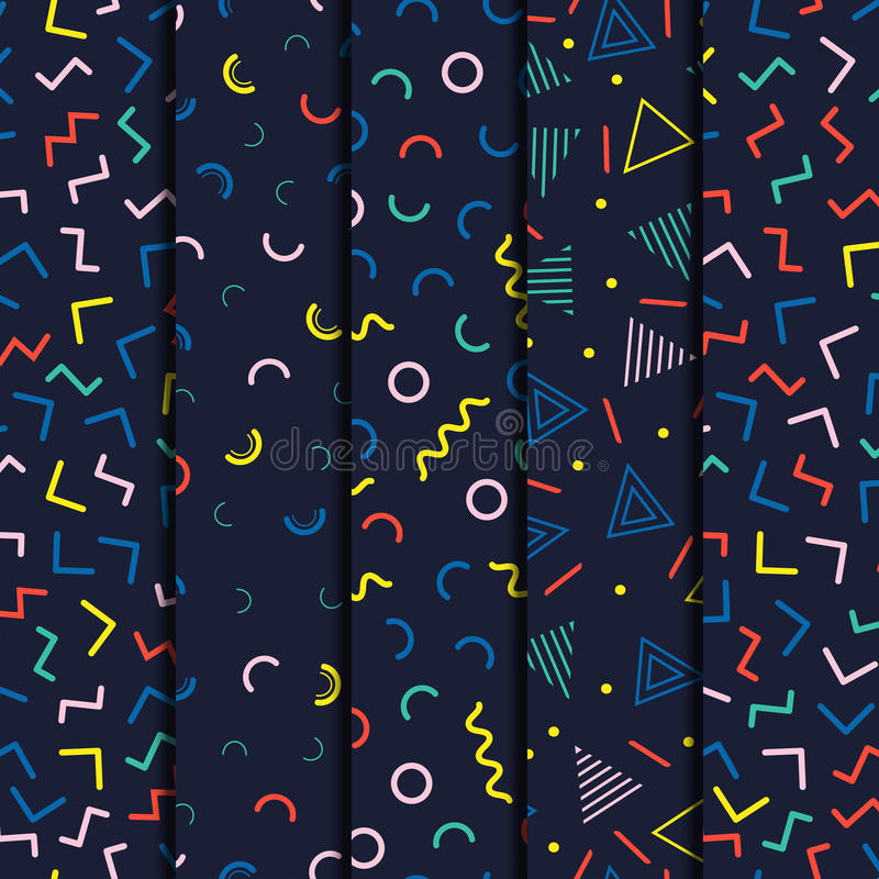 Ретро линия установленные картины Мемфиса геометрическая форм безшовные Мода 80-90s битника Абстрактные текстуры беспорядка Черно бесплатная иллюстрация