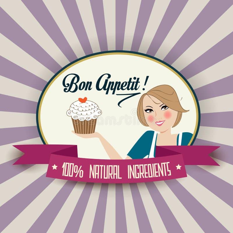 Ретро иллюстрация жены с сообщением appetit bon бесплатная иллюстрация