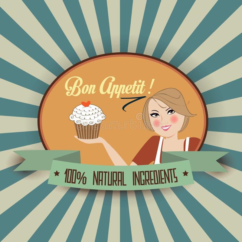 Ретро иллюстрация жены с сообщением appetit bon иллюстрация вектора
