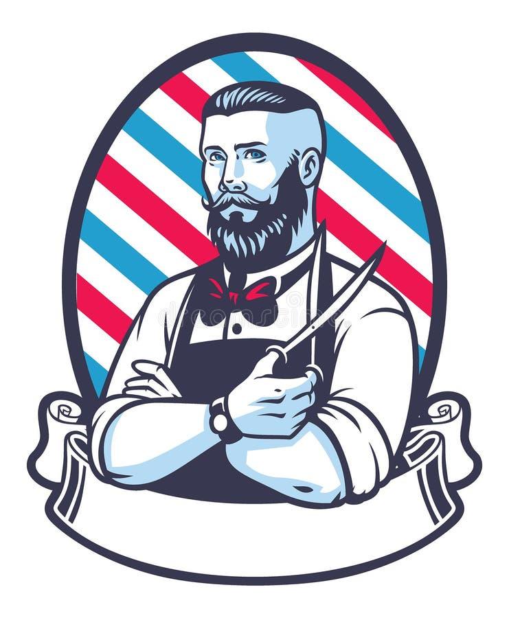 Ретро иллюстрация человека парикмахера иллюстрация вектора