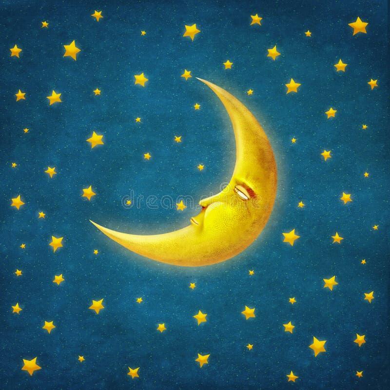 Ретро иллюстрация nighttime с звездами и луной иллюстрация вектора