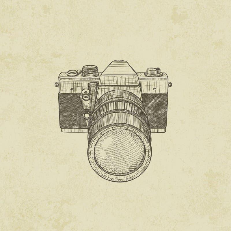 Ретро камера, камера фильма иллюстрация вектора