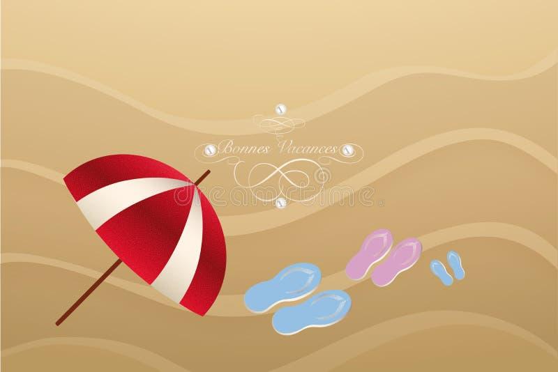Ретро карта летнего отпуска с французскими текстом, жемчугами, зонтиком и темповыми сальто сальто над песком на пляже бесплатная иллюстрация