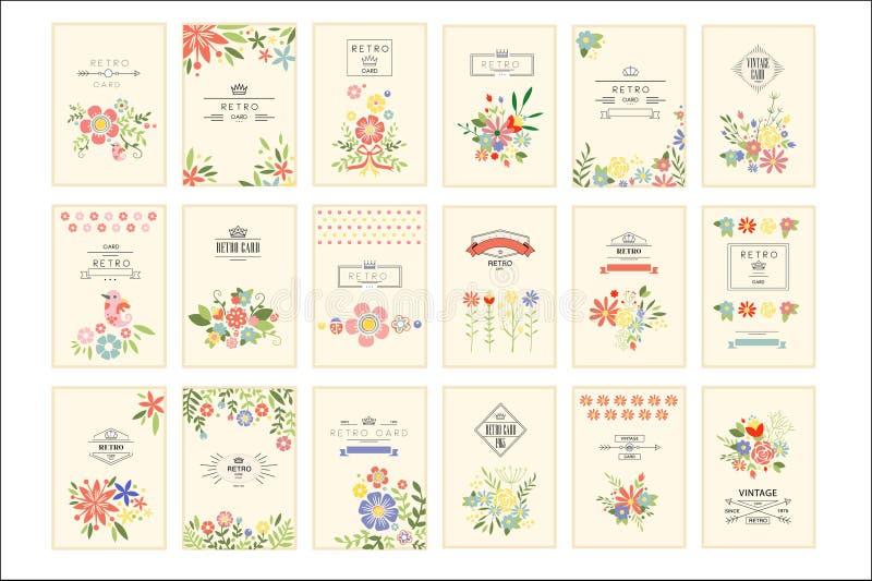 Ретро карта с набором цветков, романтичными винтажными иллюстрациями  иллюстрация вектора