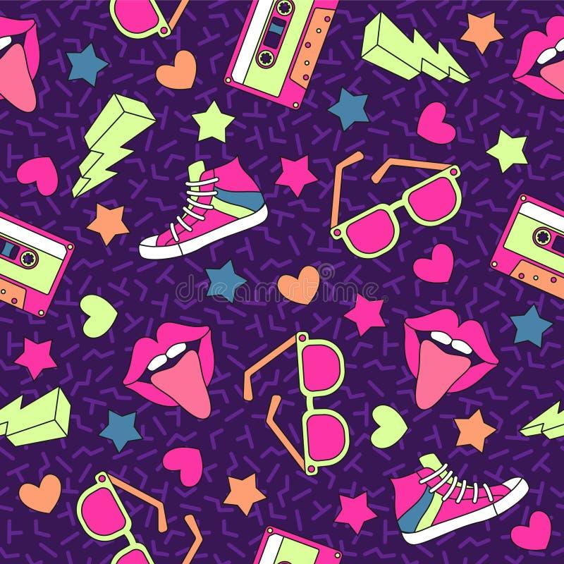 Ретро картина кассет Предпосылка винтажной кассеты безшовная, стерео рекордный прибор средств массовой информации Партия диско 80 бесплатная иллюстрация