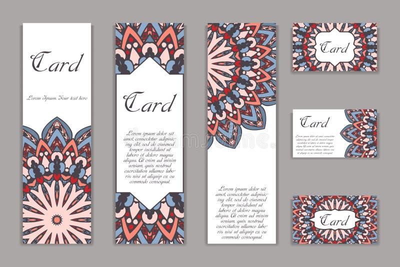 Ретро карточка с мандалой сбор винограда текста места предпосылки Графический шаблон для вашего дизайна декоративный орнамент бесплатная иллюстрация