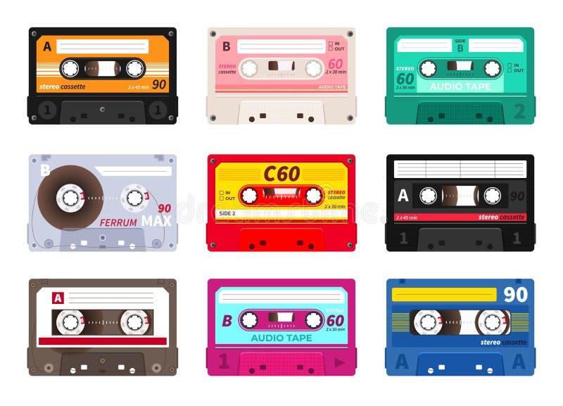 Ретро кассеты Винтажная лента музыки 1980s, смешивание партии неистовства dj, реалистический стерео рекордный набор Музыка старой бесплатная иллюстрация