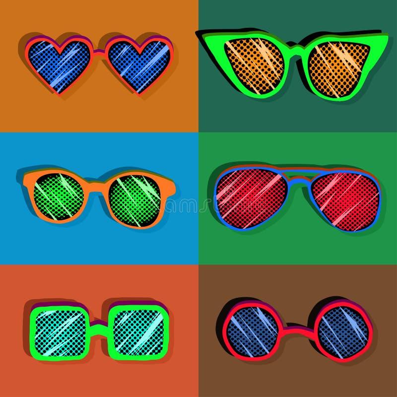 Ретро комплект стилизованных солнечных очков искусства шипучки красочных, безшовная картина иллюстрация вектора