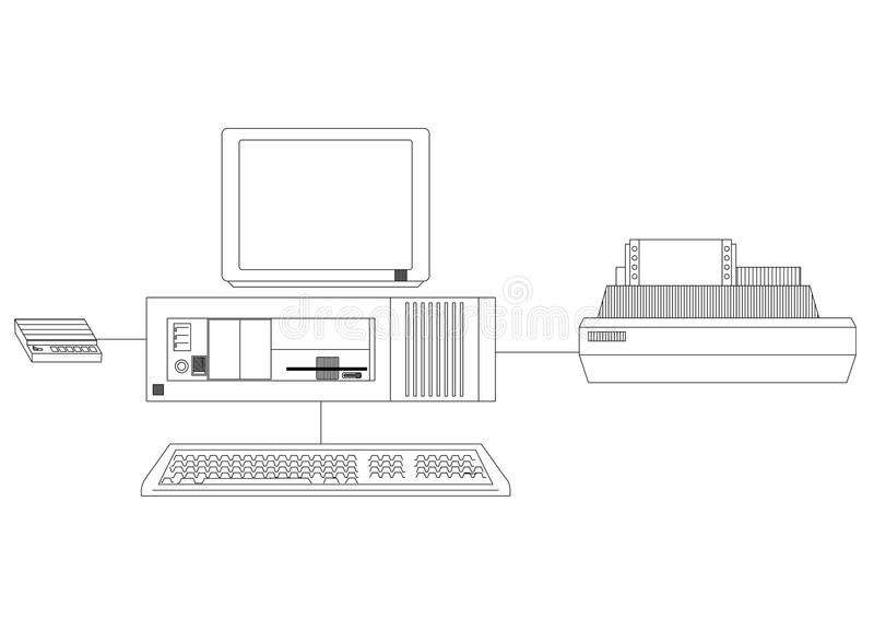 Ретро компьютер с светокопией принтера иллюстрация вектора