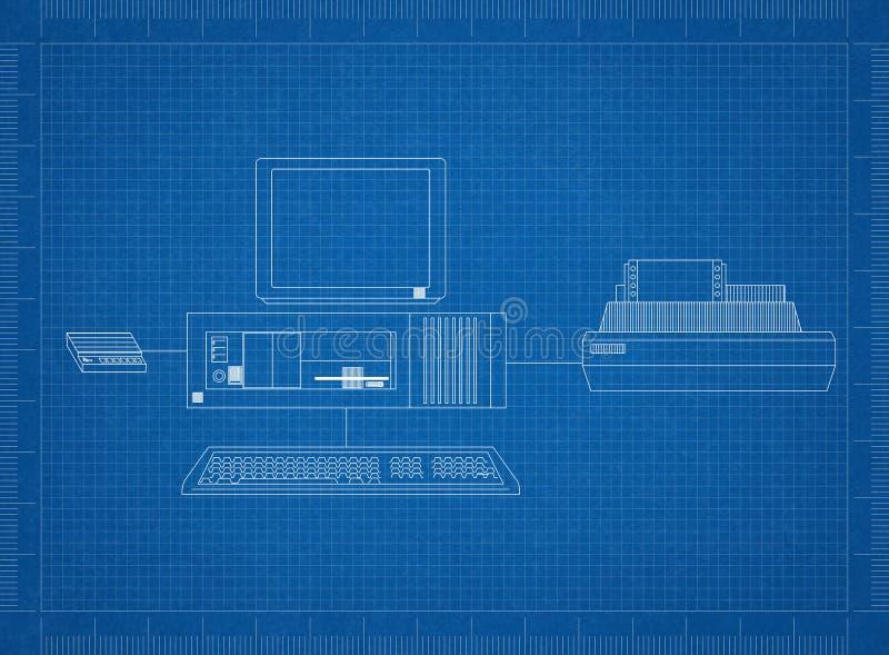 Ретро компьютер с светокопией принтера иллюстрация штока