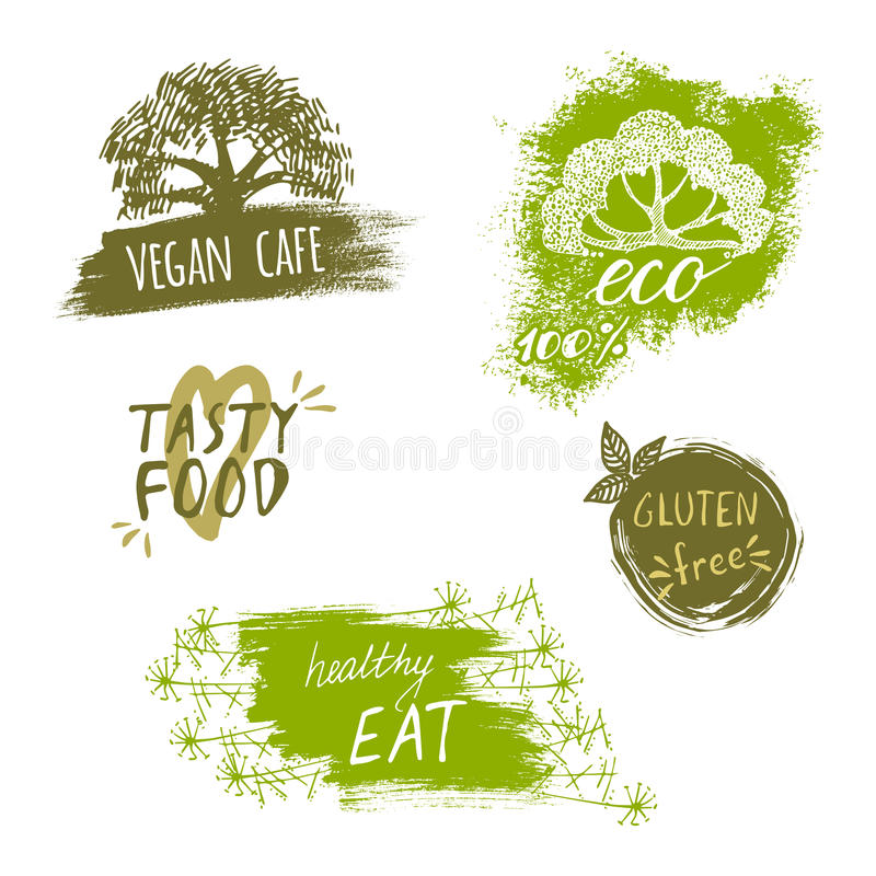 Ретро комплект био, органический, клейковина стиля освобождает, eco, здоровые ярлыки еды Шаблоны логотипа с флористическими и вин иллюстрация вектора