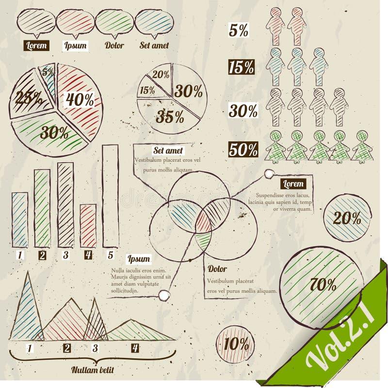 Ретро комплект infographic элементов. иллюстрация вектора