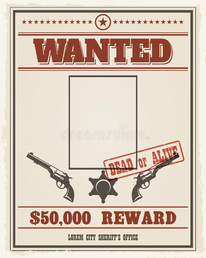 Ретро, который хотят плакат с пустым пространством для уголовного фото бесплатная иллюстрация