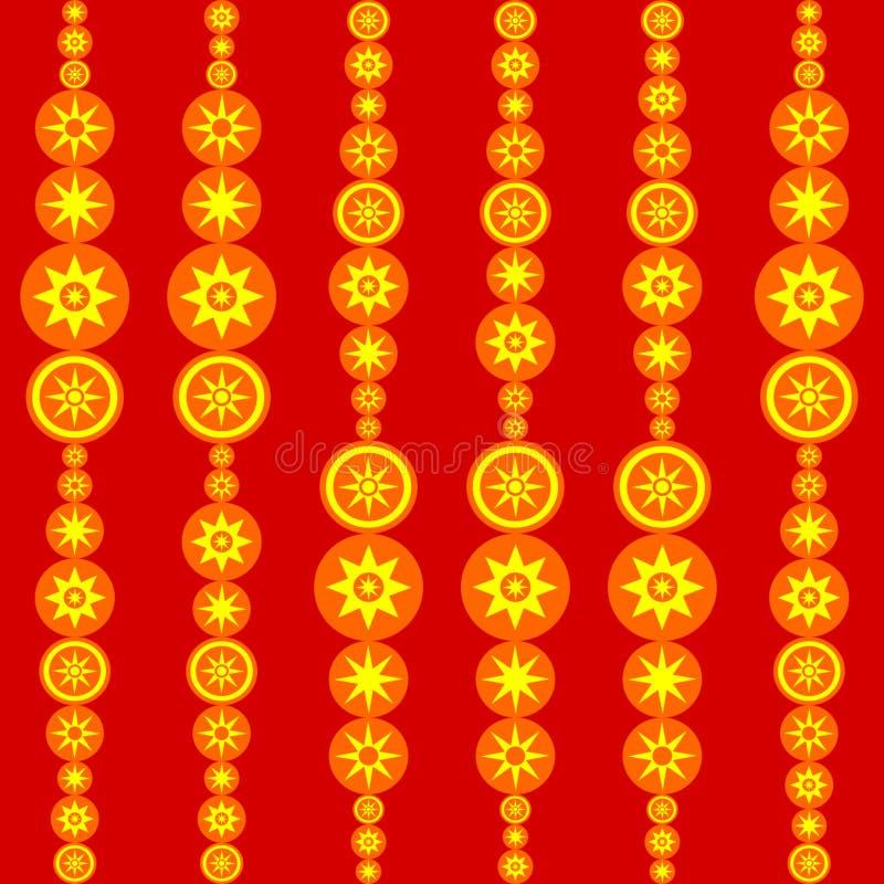 Ретро красная плитка оранжевого желтого цвета с стилизованными солнцами иллюстрация штока