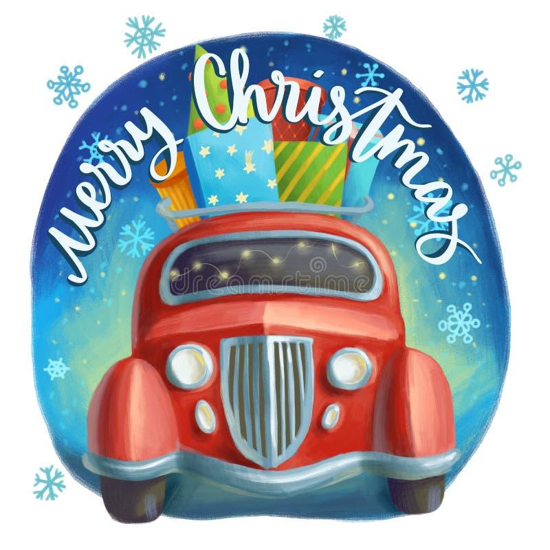 Ретро красный автомобиль со стогом яркого подарка и присутствующих коробок иллюстрация штока