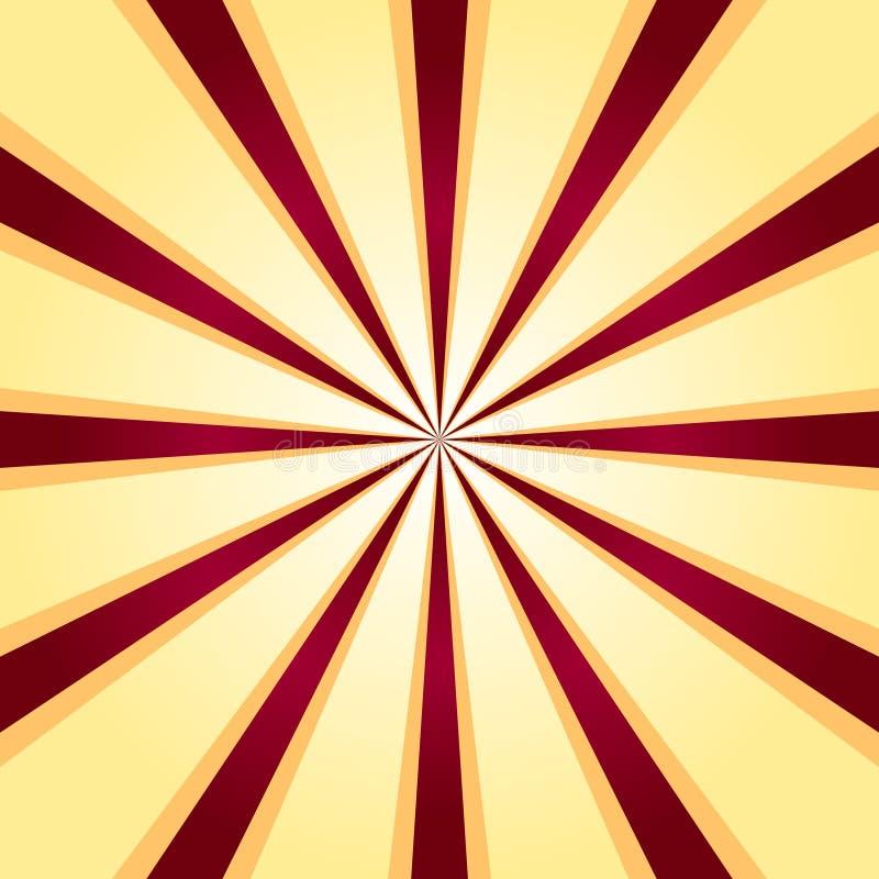 Ретро красный луч предпосылки и стильная иллюстрация также вектор иллюстрации притяжки corel иллюстрация штока