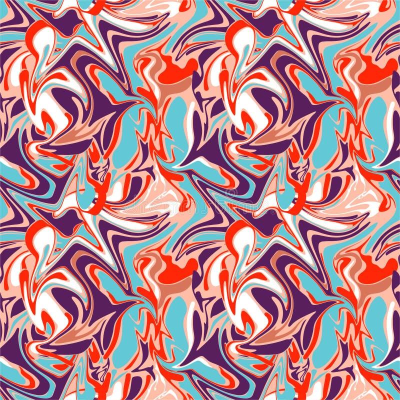 Ретро красочная безшовная абстрактная мраморная иллюстрация картины в векторе, жидкостном мраморном винтажном настроении иллюстрация вектора