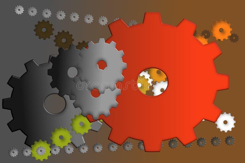Ретро красочные cogwheels корозия иллюстрация штока