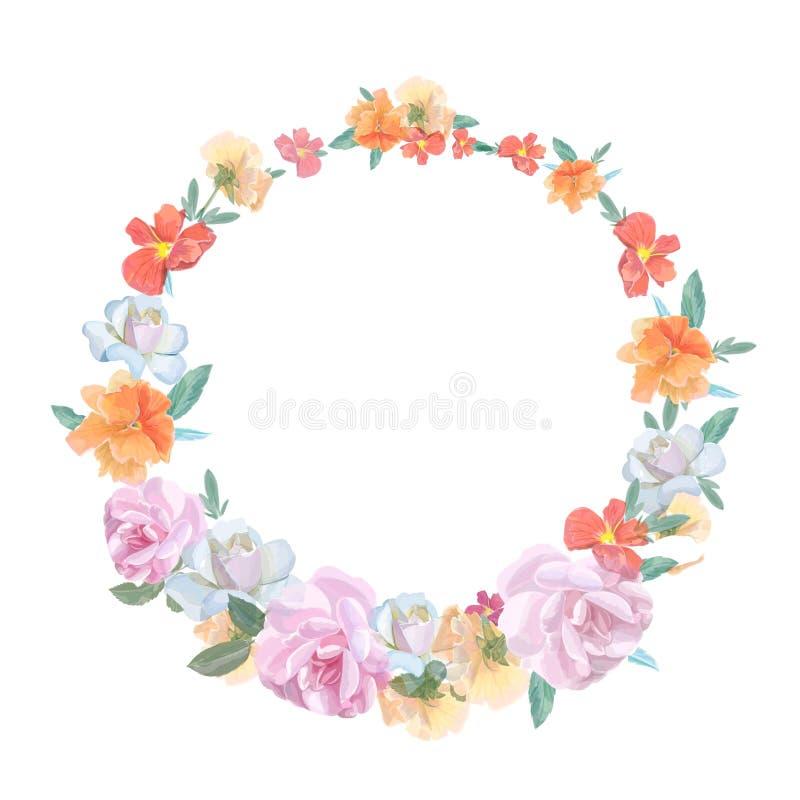 Ретро круглая рамка от роз, покрашенных внутри иллюстрация штока