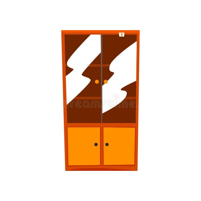 Ретро кухонный шкаф, старая ненужная мебель, иллюстрация вектора распродажи старых вещей на белой предпосылке бесплатная иллюстрация