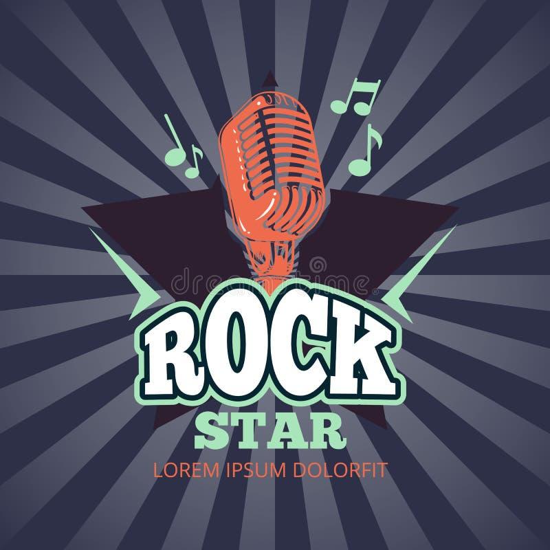 Ретро клуб музыки караоке, логотип вектора студии аудио рекордный, значок с микрофоном и звезда на предпосылке sunburst иллюстрация штока