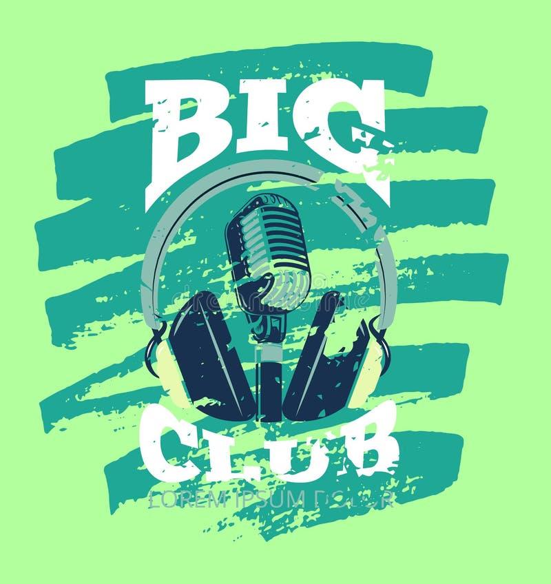 Ретро клуб музыки караоке, логотип студии аудио рекордный с микрофоном и наушники иллюстрация вектора