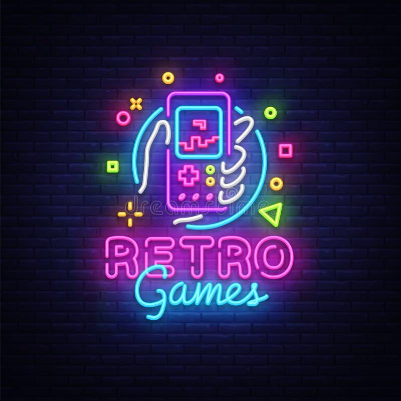 Ретро логотип вектора игр Ретро gamepad игры идиота в неоновой вывеске руки, современном дизайне тенденции, яркой иллюстрации век иллюстрация вектора