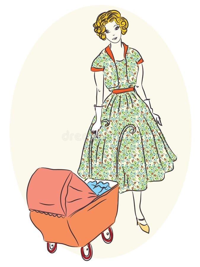 Ретро мать с pram бесплатная иллюстрация