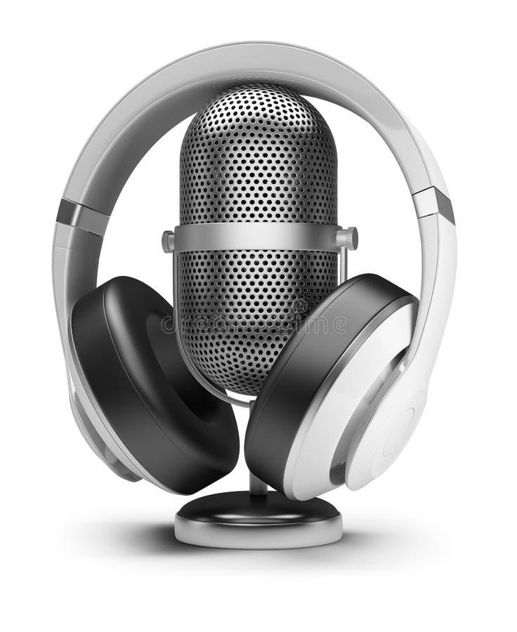 Ретро микрофон и наушники бесплатная иллюстрация