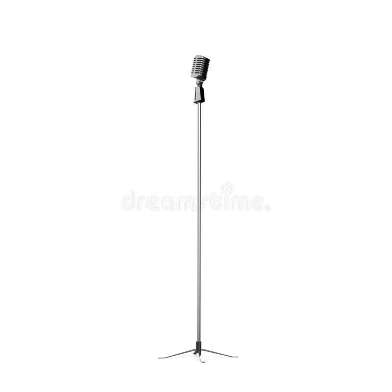 Ретро микрофон на белой предпосылке иллюстрация вектора