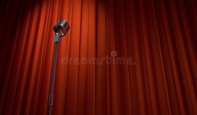 ретро микрофон 3d на красной предпосылке занавеса иллюстрация штока
