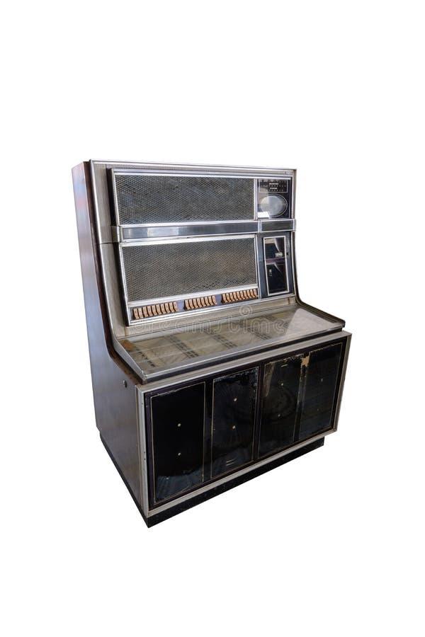 Ретро музыкальный автомат изолированный на белизне стоковое фото