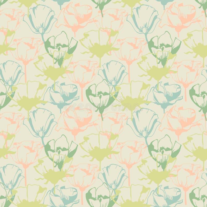 Ретро мягкая флористическая безшовная картина иллюстрация вектора