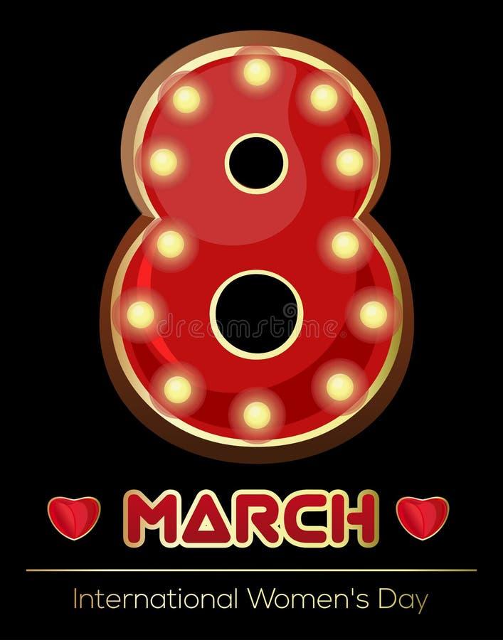 Ретро неоновая вывеска в форме диаграммы 8 Накаляя 8 Винтажная диаграмма 8-ое марта Международный женский день иллюстрация вектора