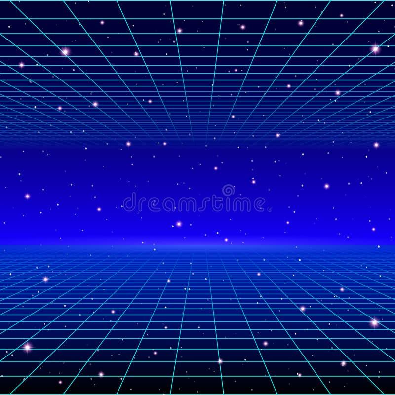 Ретро неоновая предпосылка с 80s ввела решетку и звезды в моду лазера бесплатная иллюстрация